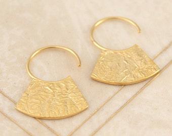Gold Earrings, Gold Drops, Boho Earrings, Statement Earrings, Hammered Earrings, Drop Hoop Earrings, Textured Earrings, Vermeil Earrings