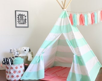 Teepee, Kids Tent, Mint and White Striped Play Tent, Custom Order, Heavy Home Decor Fabric