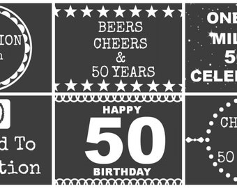 50th Birthday Beer Labels - Chalk Board Style