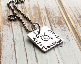 Custom Hand Stamped Family Cluster Cloud Mother Ampersand Name Initial Aluminum Square Pendant