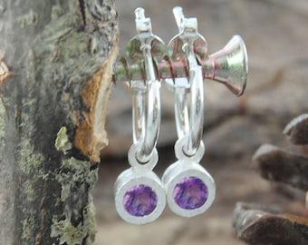 Silver Amethyst Hoops, Drop Hoop Earrings, February Birthstone, Amethyst Earrings, Silver Hoops, Silver Gemstone Hoops, Amethyst Silver Stud