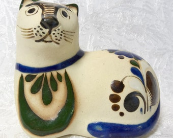 Mexican Pottery Cat Figurine Floral Cream Yellow Green Blue Red Signed Vintage