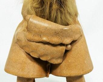Eskimo Kiss Pottery Figurine by Marina Henderson Hug Fur Original Tag Canada Vtg