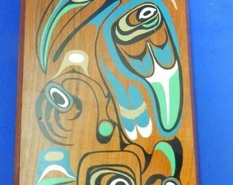 Northwest Coast First Nations Silk Screen on Cedar Raven Grizzly Bear Totems Vtg