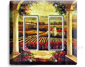 Tuscan vineyard village kitchen retro painting old rustic art decoration double GFCI light switch wall plate cover living dining room decor