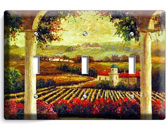 Tuscan vineyard village kitchen retro painting old rustic art decoration triple light switch wall plate cover living dining room decoration