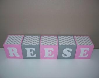 SALE Letter Blocks - Pink, Grey - Chevron - Wooden Baby Blocks - Nursery Decor - Baby Shower Decoration - Baby's Room - Girls - Personalized