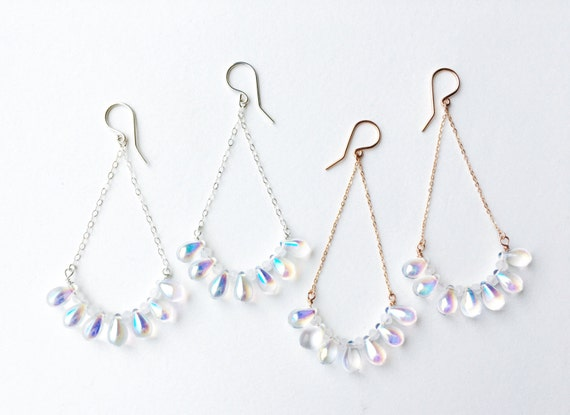 Iridescent Glass & Moonstone Drop Earrings // Sterling Silver, 14k Rose Gold Filled or 14k Gold Filled