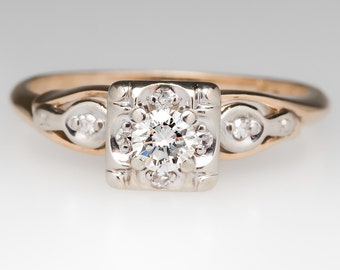 1950's Vintage Illusion Set Diamond 14K Engagement Ring WM10391
