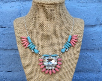 Pink and Blue Statement Necklace, Pink Necklace, Blue Necklace, Pink and Silver Statement Necklace, Bib Necklace, Pink Bib Necklace