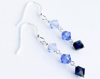 Swarovski Crystal earrings, Sterling Silver jewelry, Swarovski earrings, Silver earrings, Crystal earrings, swarovski beads, blue crystal