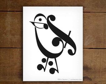 Music teacher gift / Music note BIRD art print - 5x7, 8x10, 11x14 Fine art print / Black and white art / Music decor, Music gifts, Music art