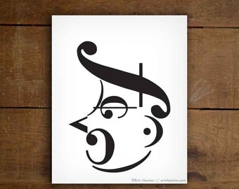 Music gifts / SHOUTING MAN music art print - 5x7, 8x10, 11x14 Fine art print / Black and white art / Music note wall art / Music decor
