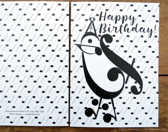 Music Birthday Card PARTY BIRD music card Music note – Music Cards for Birthday