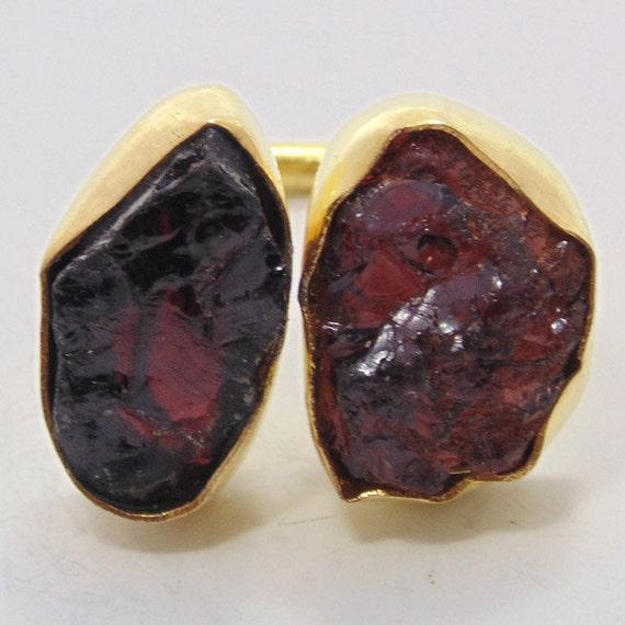 Semi Precious Gemstone Raw Stone : Semi precious stone ring raw rough garnet by vedka