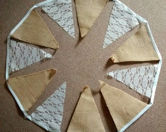Burlap/hessian and lace bunting