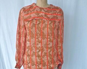 Orange Patterned Sheer Silk Blouse