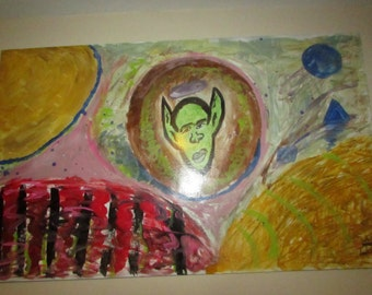 "Original Art by artist ""Spectrum Designer"" Large painting 24.5 L 39.5 W"