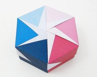 Origami Box with lid, hexagonal, 4.3' diameter