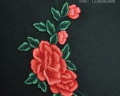 Pink Red Rosy Blue Purple Orange Peony Flower Lace Trim Embroidery Appliques , Chic Flower Patch, Sewing Applique