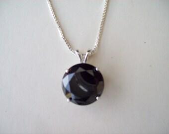 XL Jet Black Gemstone Pendant in Sterling Silver 16mm round