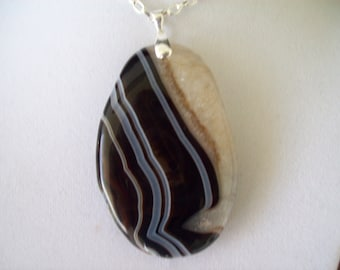 White/Black Druzy Agate Geode Pendant