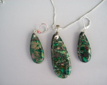 Emerald Green Ocean Jasper Pendant and Earring Set - Sterling