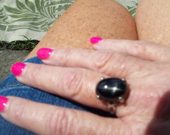 Black Star Diopside Ring Size 7 Sterling Silver