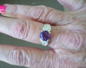 Lab Alexandrite Ring in Sterling Silver - Size 7