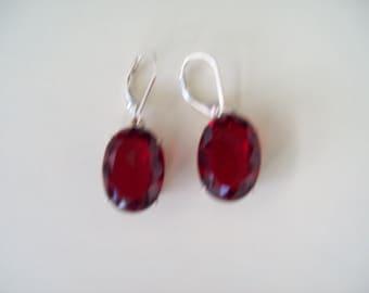 Sterling Silver Earrings - Garnet/Ruby Red