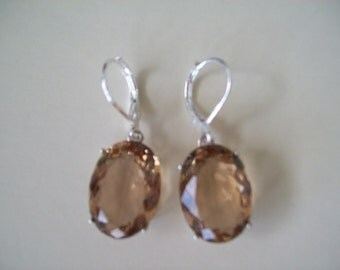 Sterling Silver Earrings - Champagne Quartz