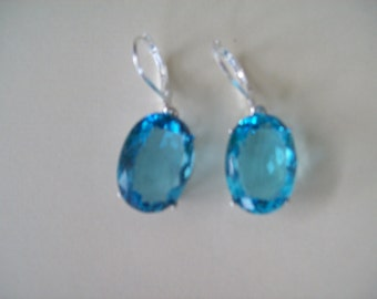 Sterling Silver Earrings -Aquamarine Blue