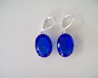 Sterling Silver Earrings - Electric Blue