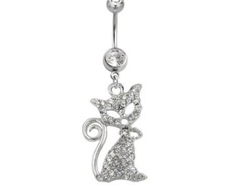 Belly Ring Cute Silvertone Crystal Jeweled KITTY CAT 14 gauge Stainless Steel Navel Piercing Body Jewelry