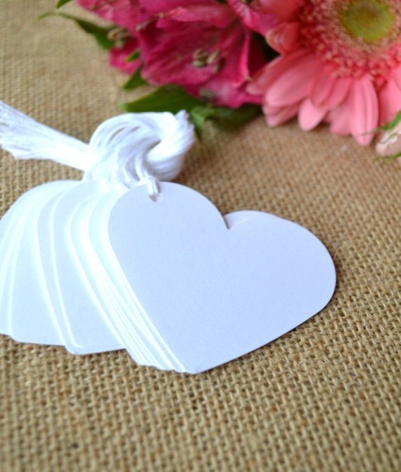 Wedding Favor Tags With String : white heart tags with string heart wedding favor tags white