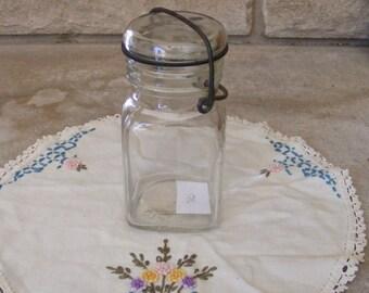 Vintage Clear SQUARE Hazel Atlas Glass Canning Jar