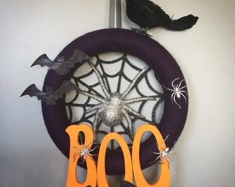 READY TO SHIP Halloween Boo Wreath with Spiders Bats and Crow