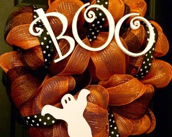 Boo Halloween Deco Mesh Wreath with Ghost