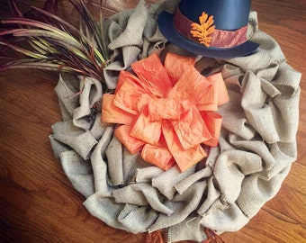 Burlap Turkey Wreath with Hat Feathers and Feet for Thanksgiving or Fall