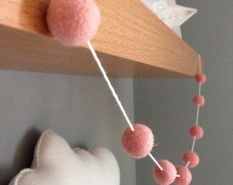 Soft pink felt ball garland