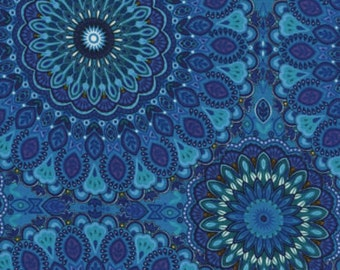 Gorgeous Medallion in Blue, Violet, Turquoise, Mosaic Plume, Timeless, By 1/2 yd