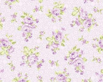 Lavender Roses on Light Lavender Tiny Floral, Romance by Vive, Benartex (By 1/2 yd)