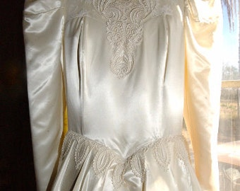 Vintage 1950s Ivory Jessica McClintock Wedding Gown size 9/10