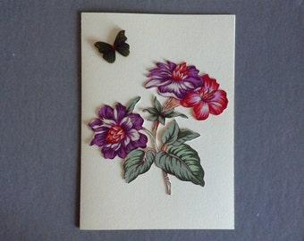 Handmade Fabric Tropical Flower Bouquet Thanksgiving Day Card