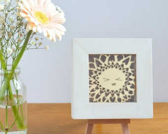 Happy Flowers Framed Acrylic Lasercut (Sunny Sunflower), Gold Glitter, Birthday, Celebration, Someone Special, Unique Gift, Rustic Luxury