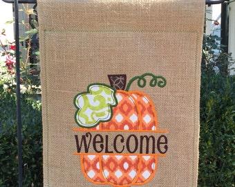 Monogrammed Ikat Pumpkin Burlap Garden Flag  Personalized with Name Fall Pumpkin
