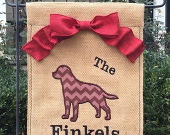 Monogrammed Lab/Dog  Burlap Garden Flag  Personalized with Name