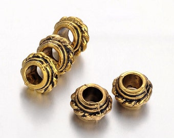 Tibetan Style Rondelle Large Hole European Beads, Qty 20, Antique Golden  #135