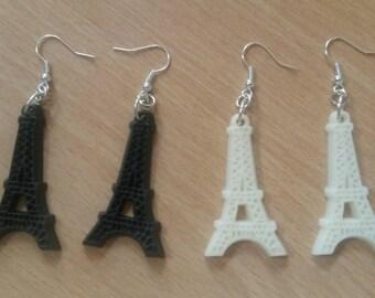 Eifel Tower charm earrings. black and off white