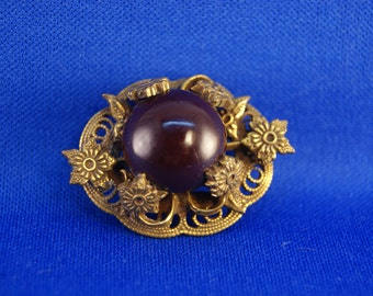 Antique Mourning Brass Floral Filigree Brooch Pin with C Clasp and Deep Mauve Old Resin/Plastic Center!